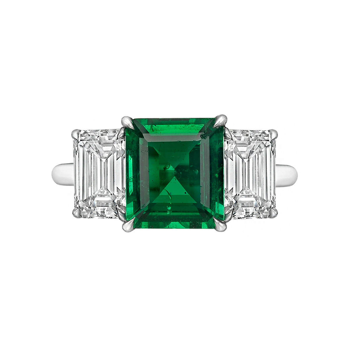 1.70ct Emerald & Diamond Three-Stone Ring