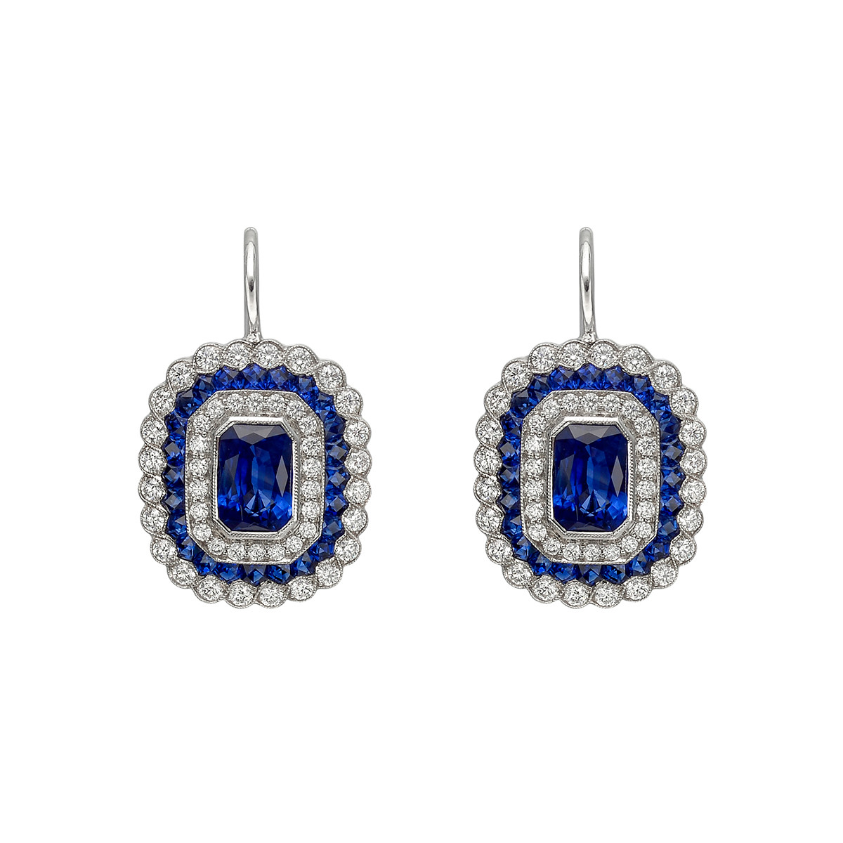 Emerald-Cut Sapphire & Diamond Cluster Drop Earrings