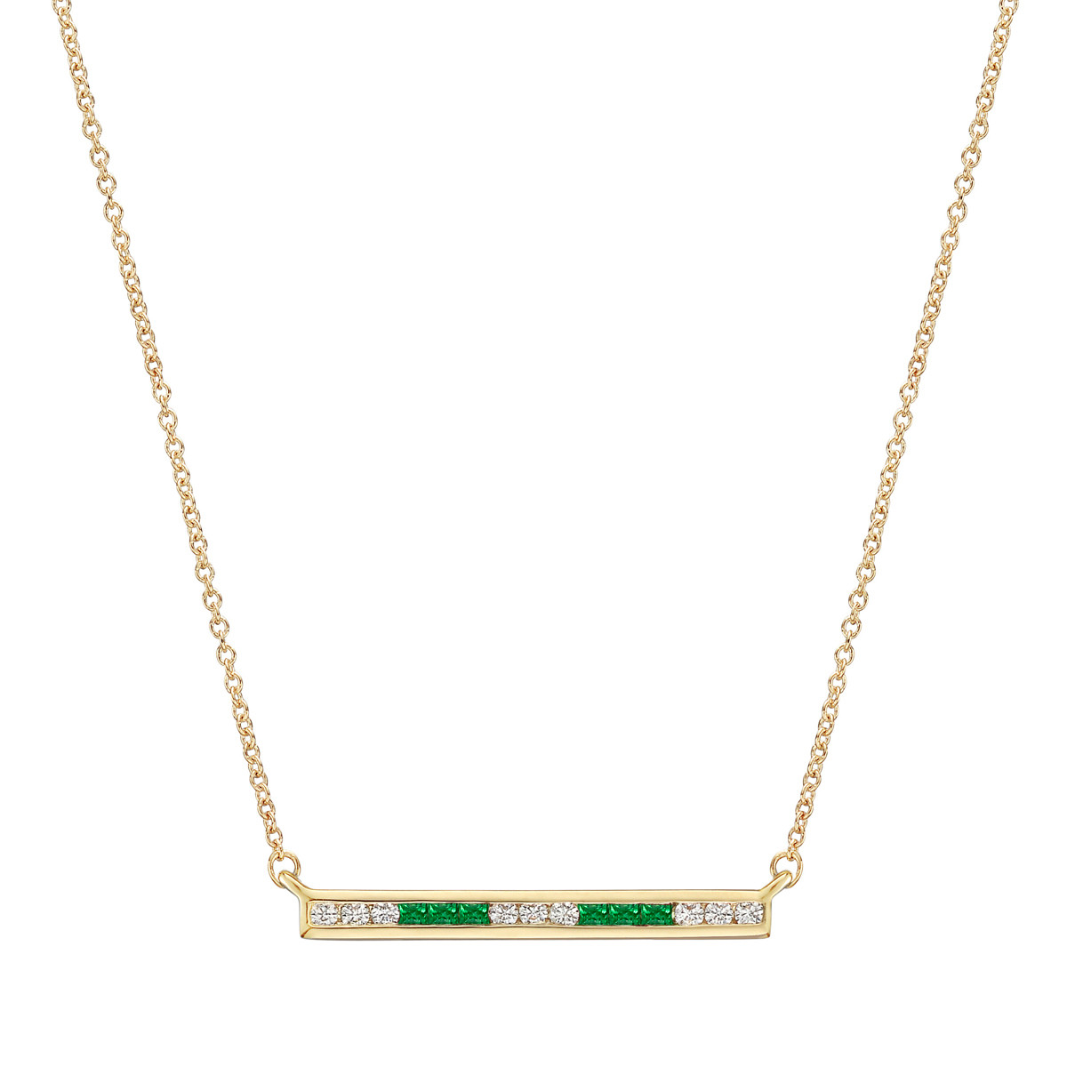 Emerald & Diamond Horizontal Bar Pendant