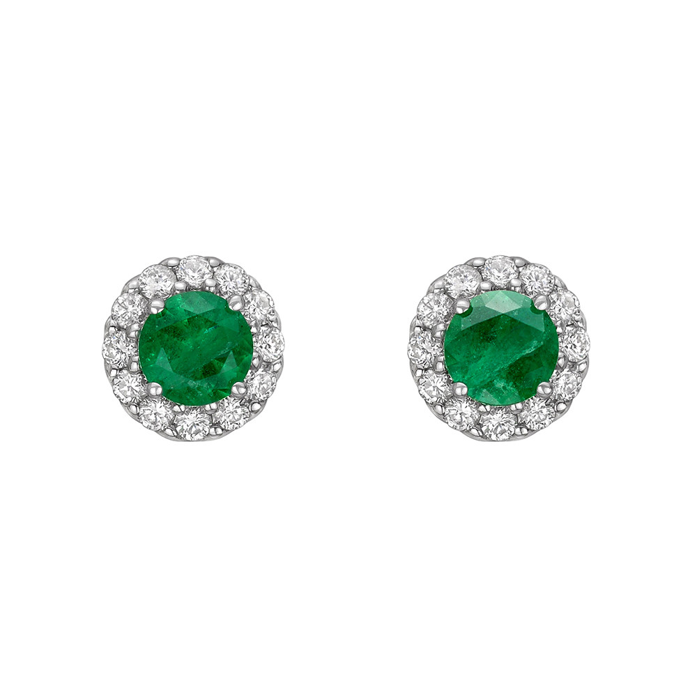 Emerald & Diamond Halo Earstuds