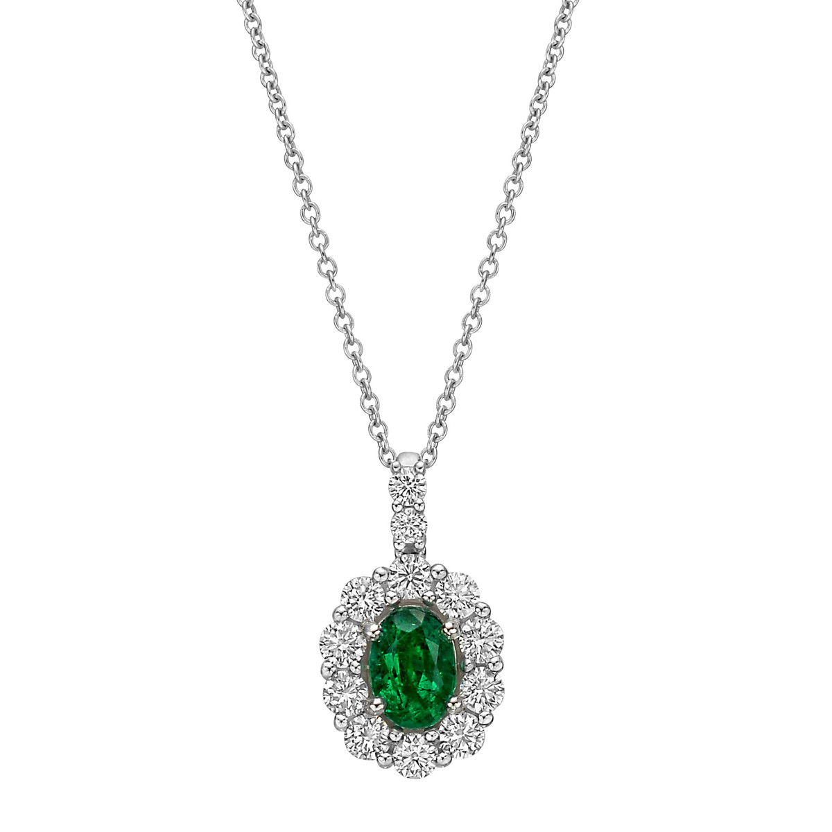 Emerald & Diamond Cluster Pendant Necklace