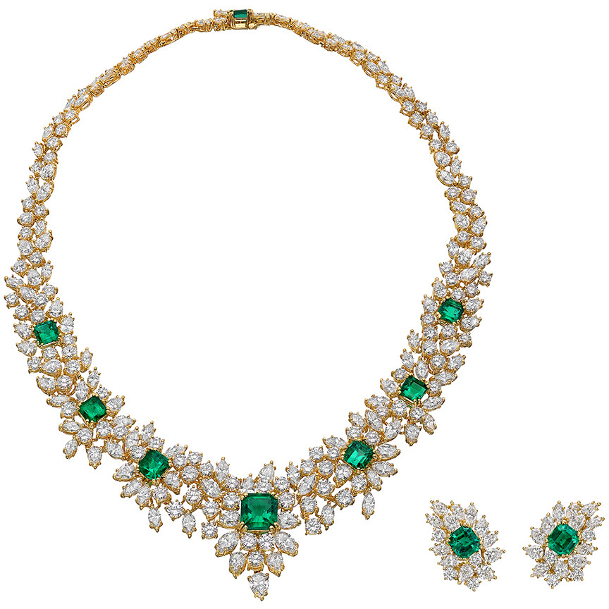 Emerald & Diamond Demi Parure