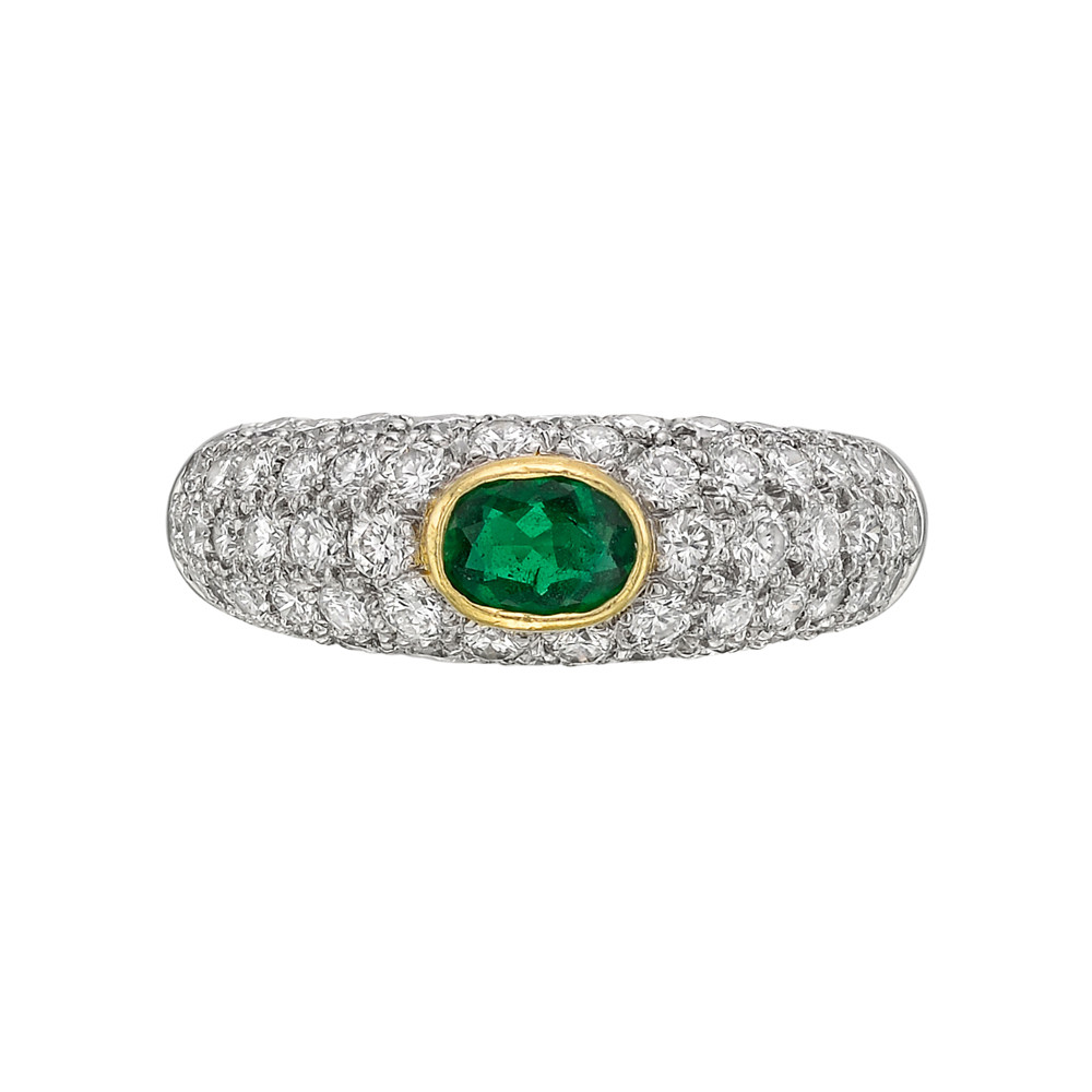 Emerald & Diamond Domed Band Ring