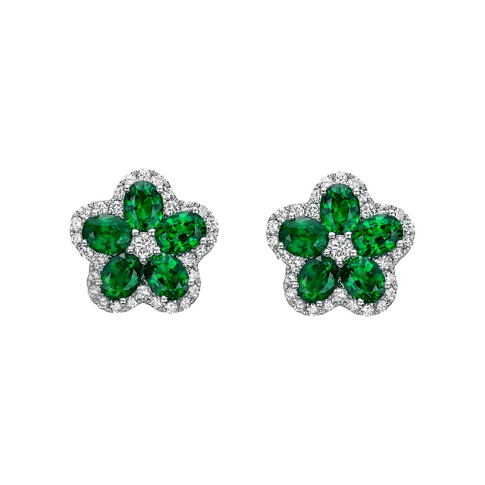 Emerald & Diamond Flower Cluster Earstuds