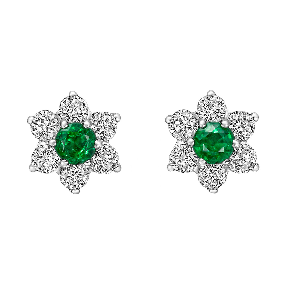 Emerald & Diamond Flower Cluster Stud Earrings