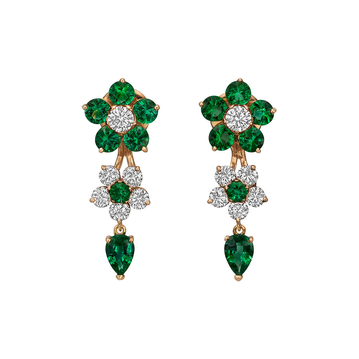 Emerald & Diamond Flower Drop Earrings