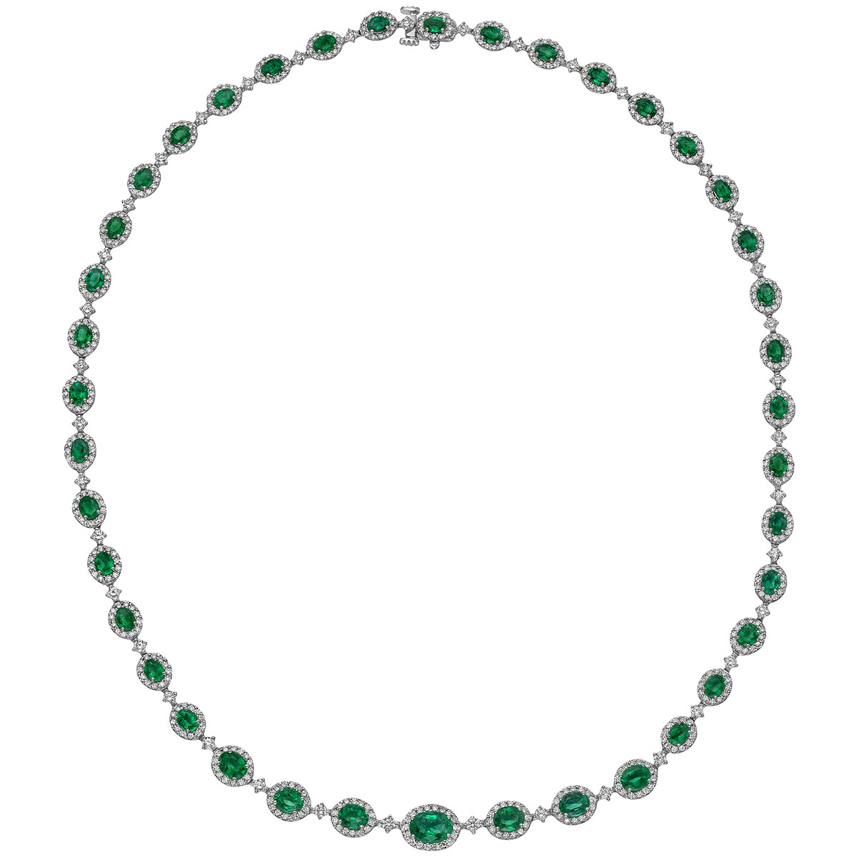 Emerald & Diamond Halo Necklace