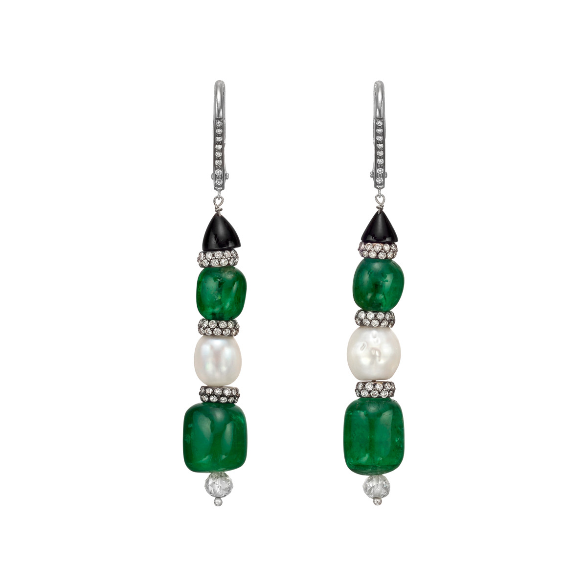 Emerald, Natural Pearl & Diamond Drop Earrings