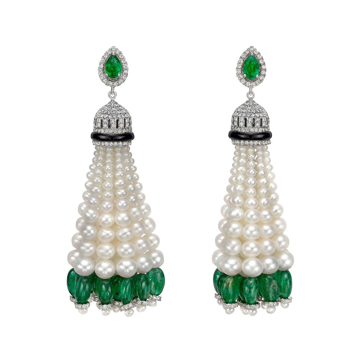 Emerald, Pearl & Diamond Tassel Earrings