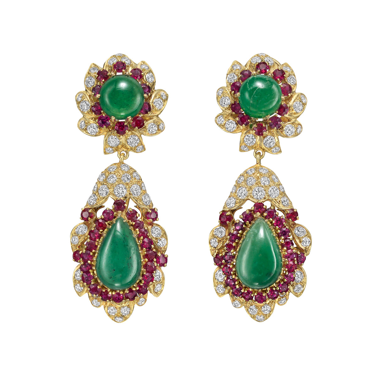 Emerald, Ruby, Diamond & Jade Pendant Earrings