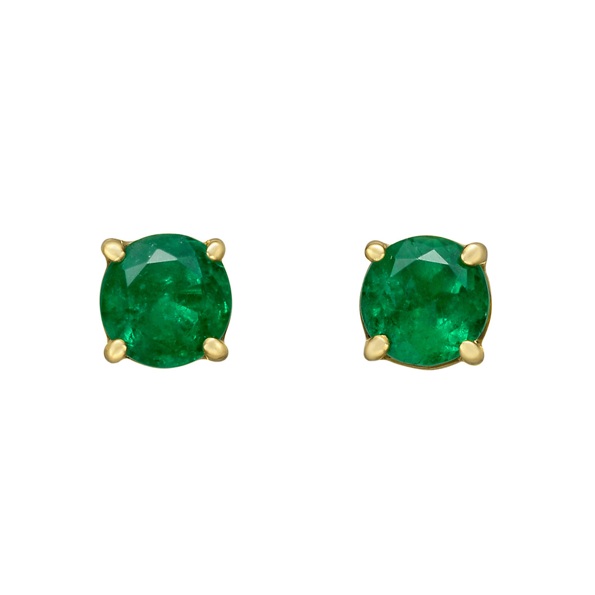 Round Emerald Stud Earrings (0.87ct tw)