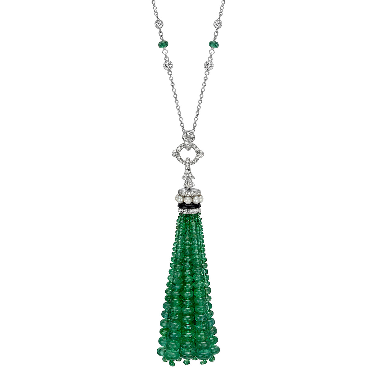 Emerald & Diamond Tassel Pendant