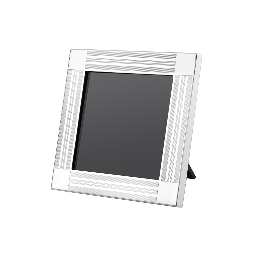 "Engine-Turned Silver Picture Frame (4 x 4"")"