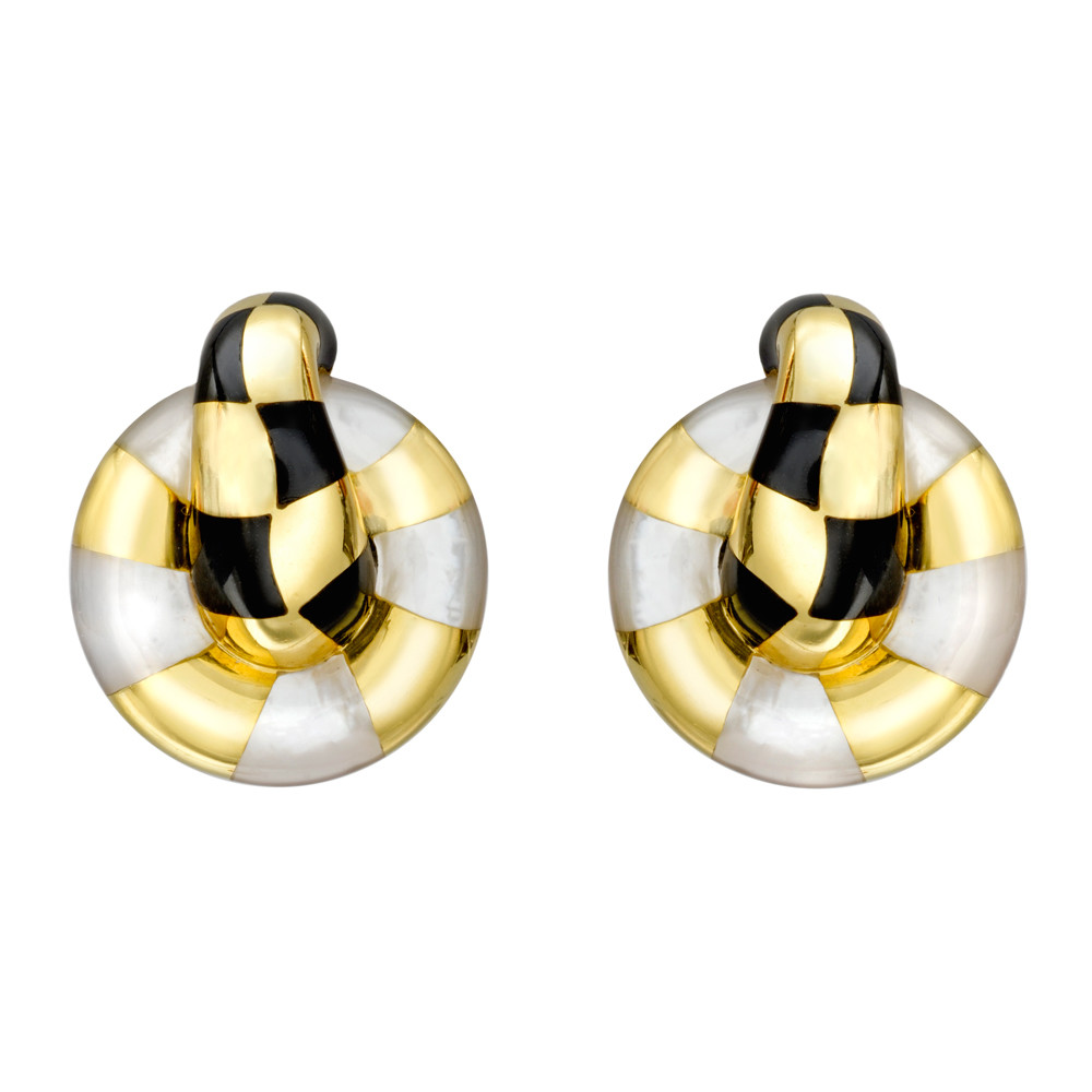 18k Gold, Mother-of-Pearl & Onyx Earclips