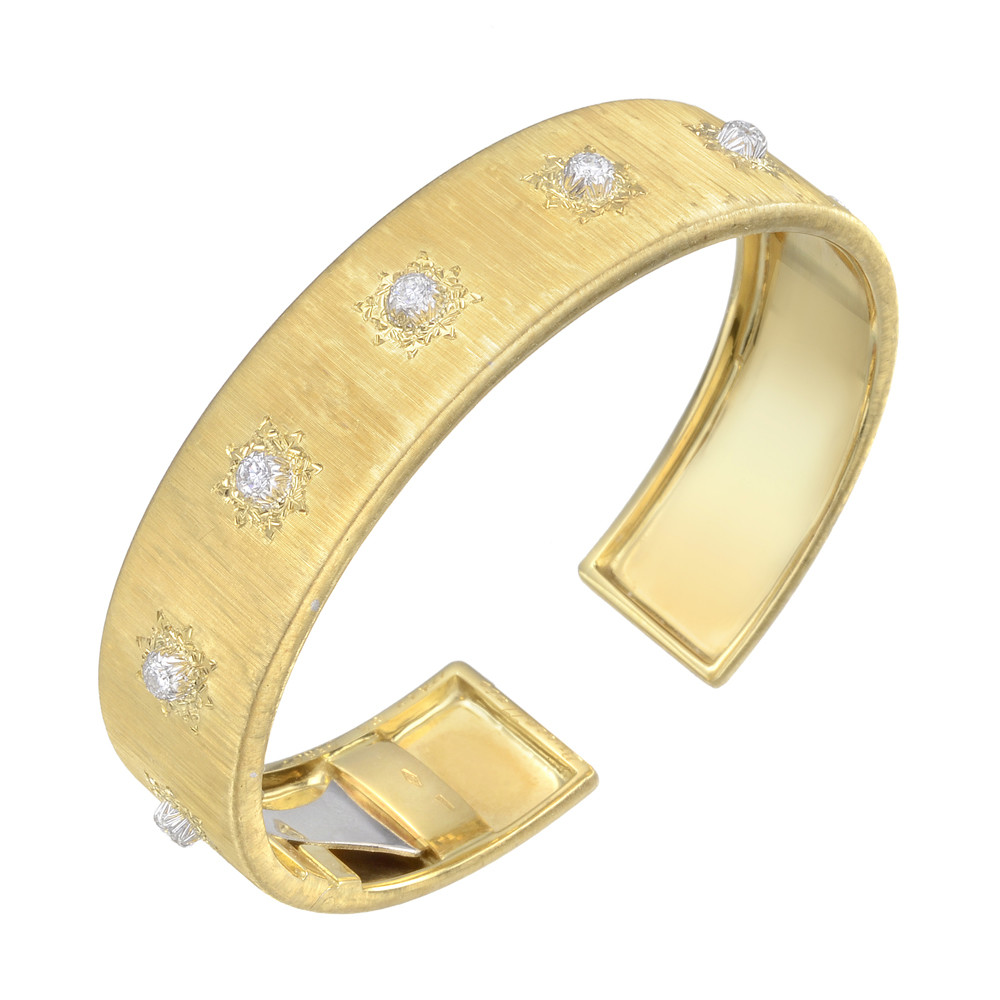 "18k Yellow Gold & Diamond ""Classica"" Cuff Bracelet"
