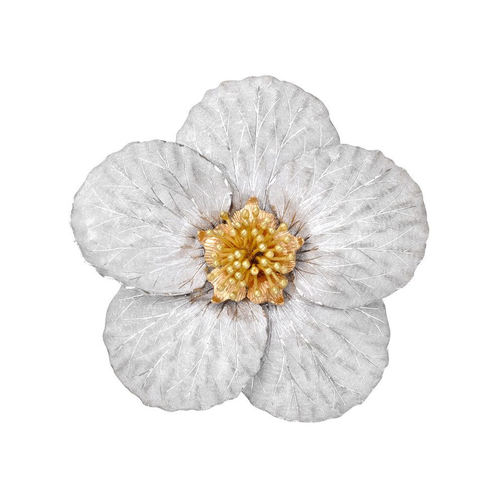 18k Tri-Colored Gold Magnolia Flower Brooch