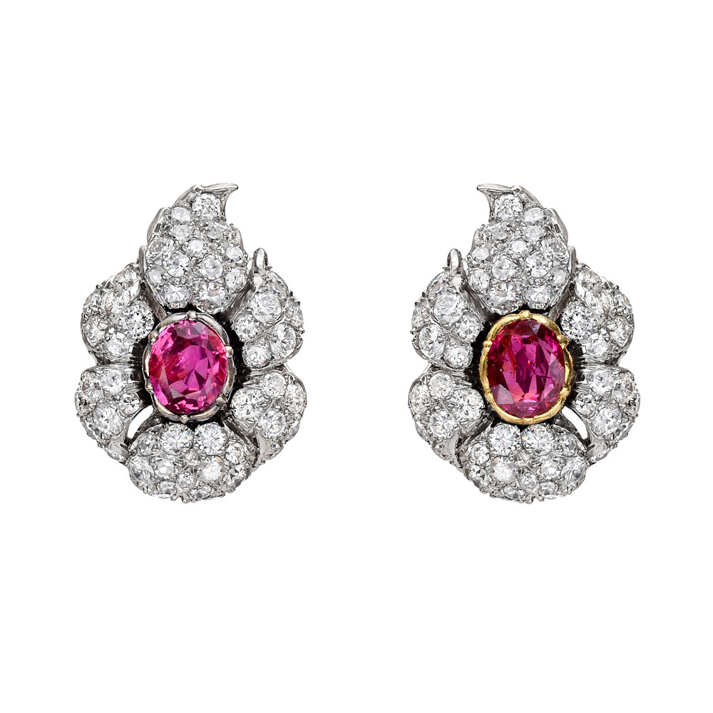 Ruby & Diamond Cluster Earclips
