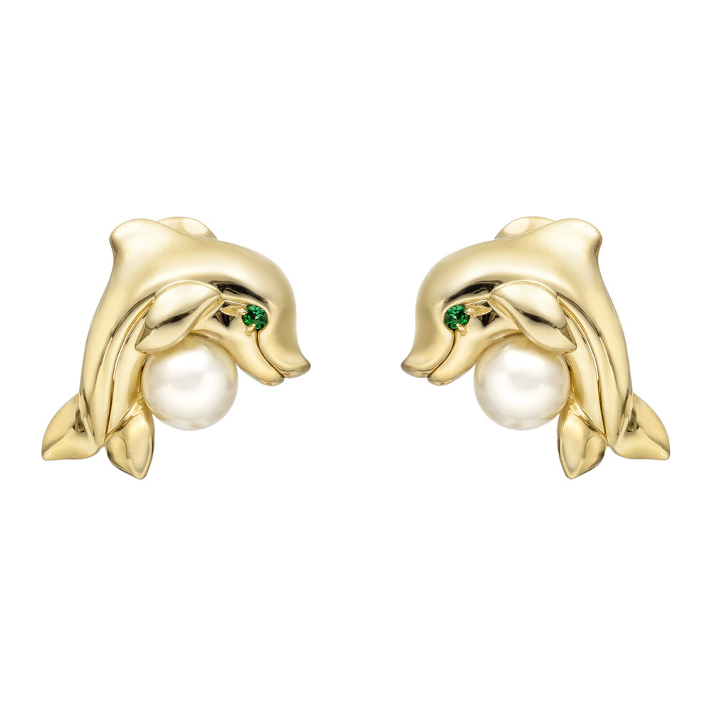 Dolphin Earrings Composed Of An 18k Yellow Gold Accented By A Round Pearl With Circular Cut Emerald Eye Clip And Post Backs