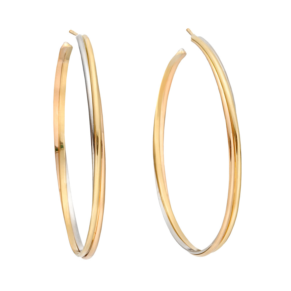 Large Trinity Hoop Earrings In 18k Yellow White And Pink Gold Signed Cartier Numbered Hf 9979 2 5 Diameter