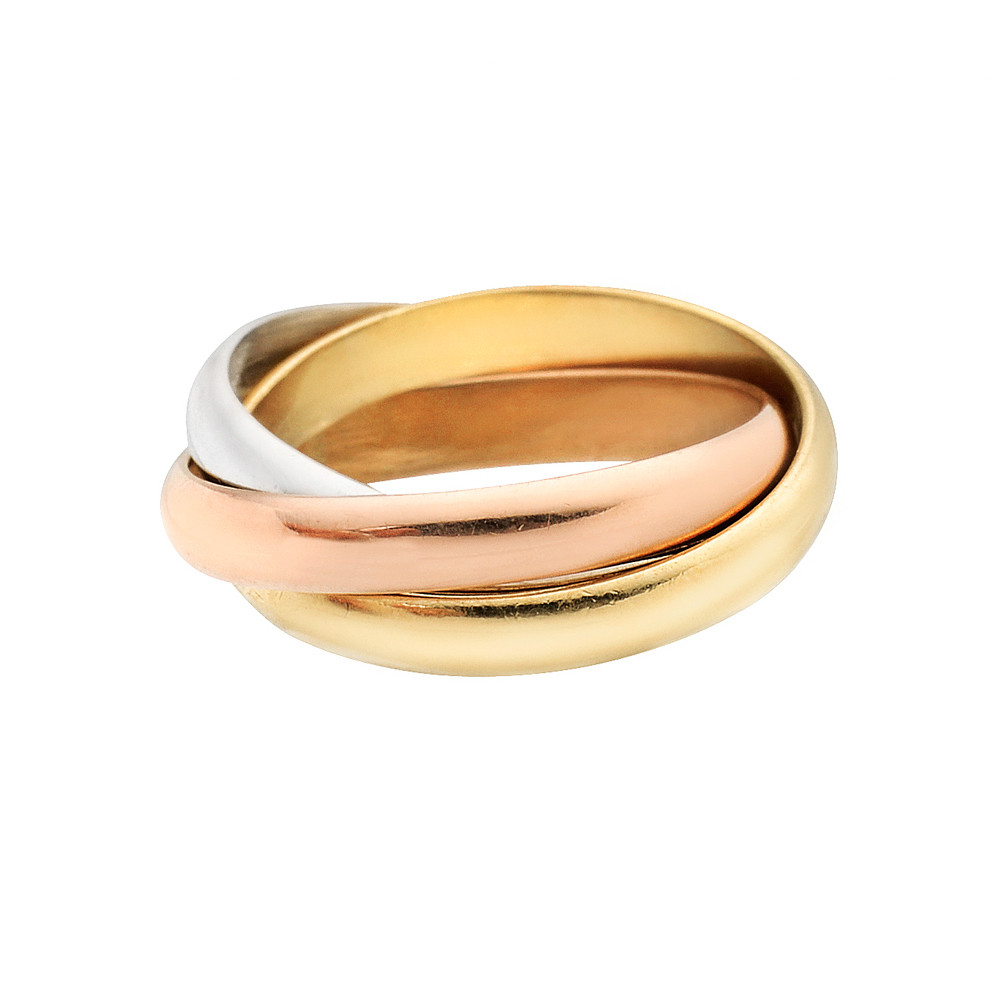 Cartier Trinity Wedding Ring: Estate Cartier Small 18k Tri-Colored Gold 'Trinity' Ring