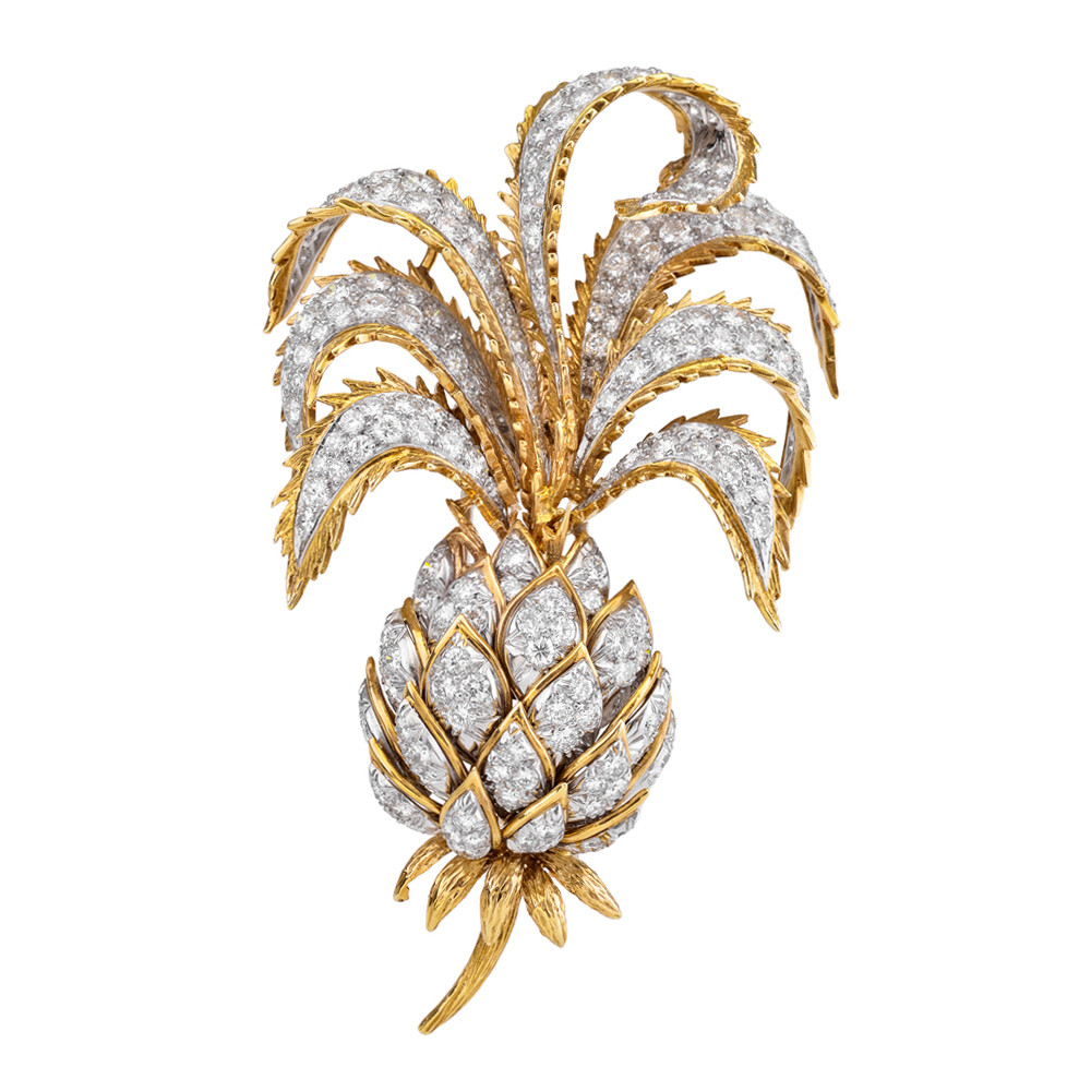 Estate David Webb 18k Gold Amp Diamond Pineapple Brooch