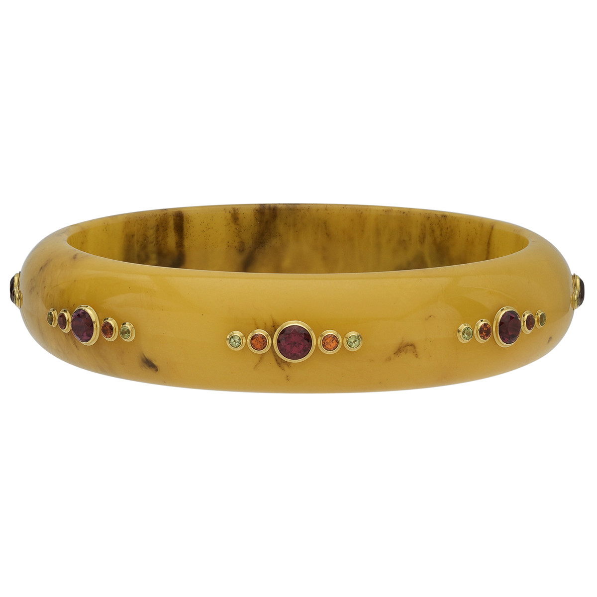 Amber Bakelite Bangle with Multicolored Gemstones
