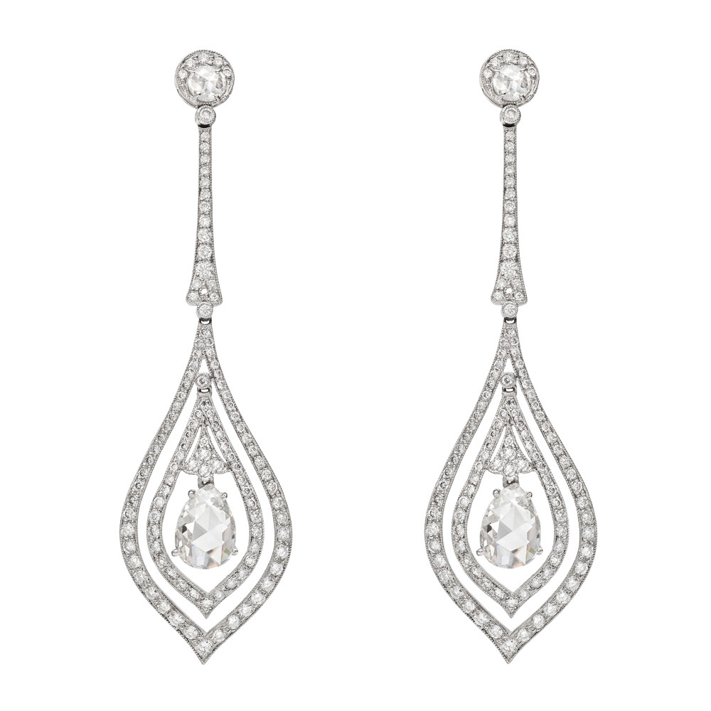 Diamond Drop Earrings Centering On Two Rose Cut Pear Shaped Diamonds Weighing Roximately 1 93 Total Carats Surrounded By Pavé Accents