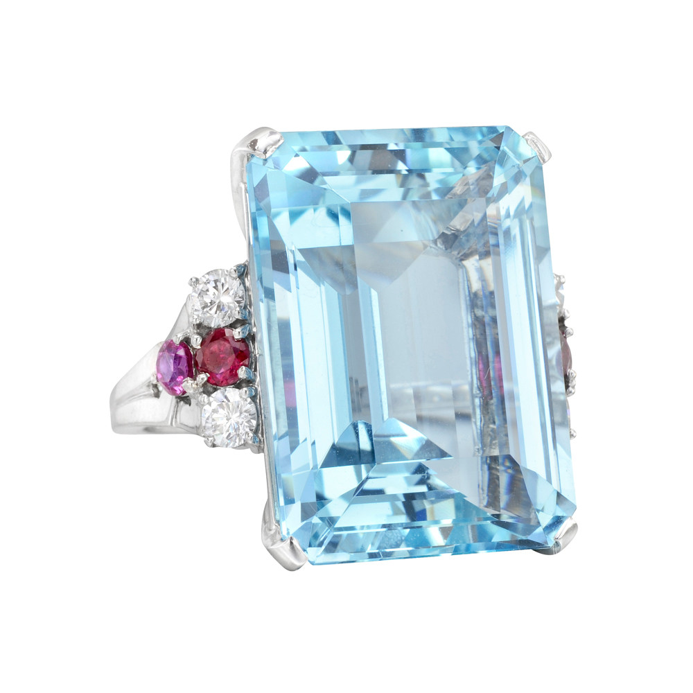 Estate Tiffany Amp Co Aquamarine Cocktail Ring With Ruby