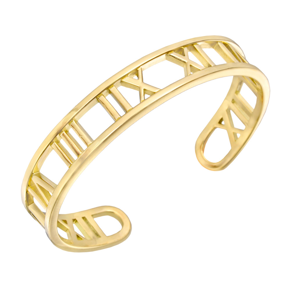 Atlas Roman Numeral Cuff Bracelet Designed As An Open In 18k Yellow Gold Circa 2003 Signed Tiffany Co