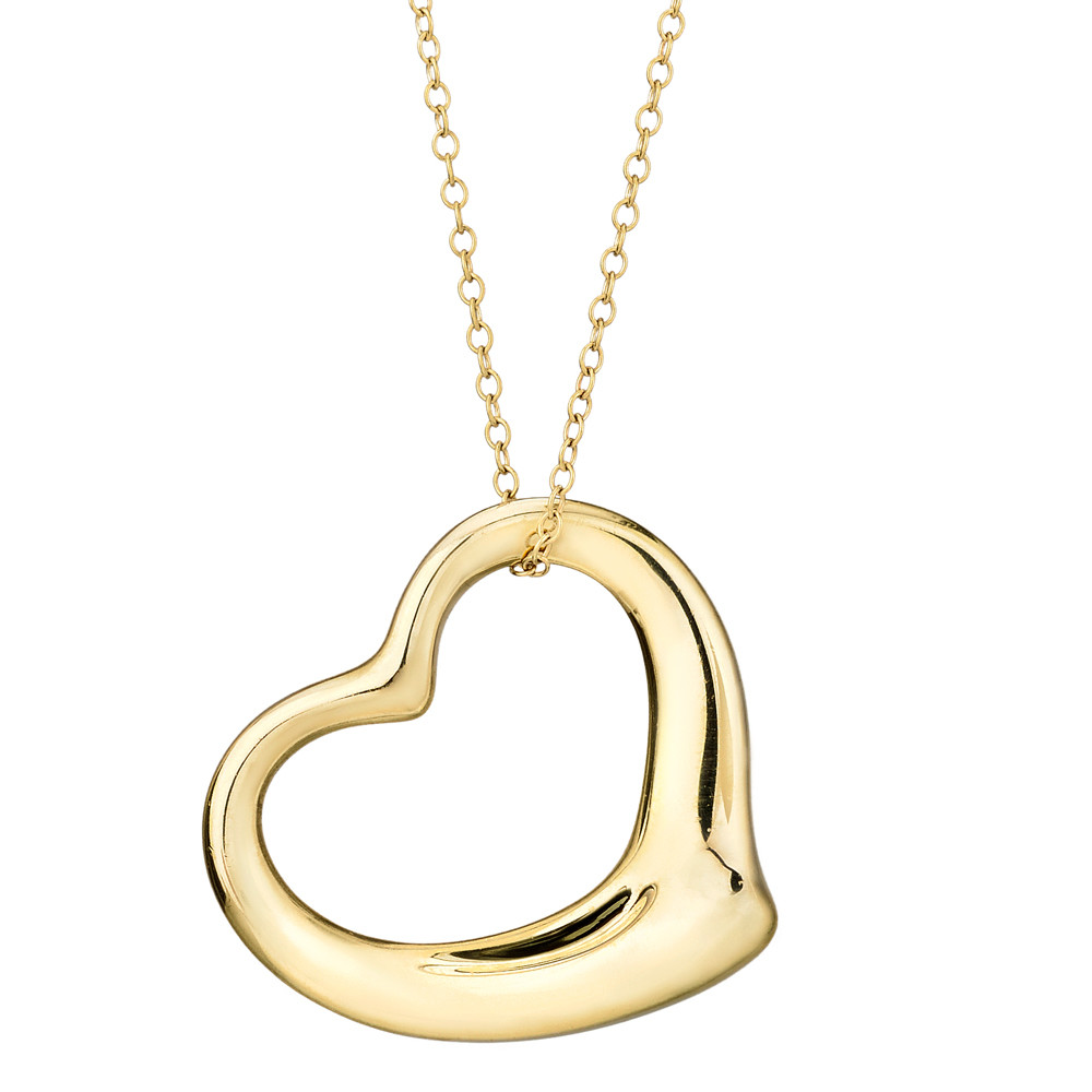 3a31598dc Open heart pendant in polished 18k yellow gold, on a 30