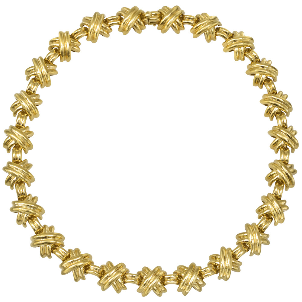 "18k Yellow Gold ""X"" Link Necklace"