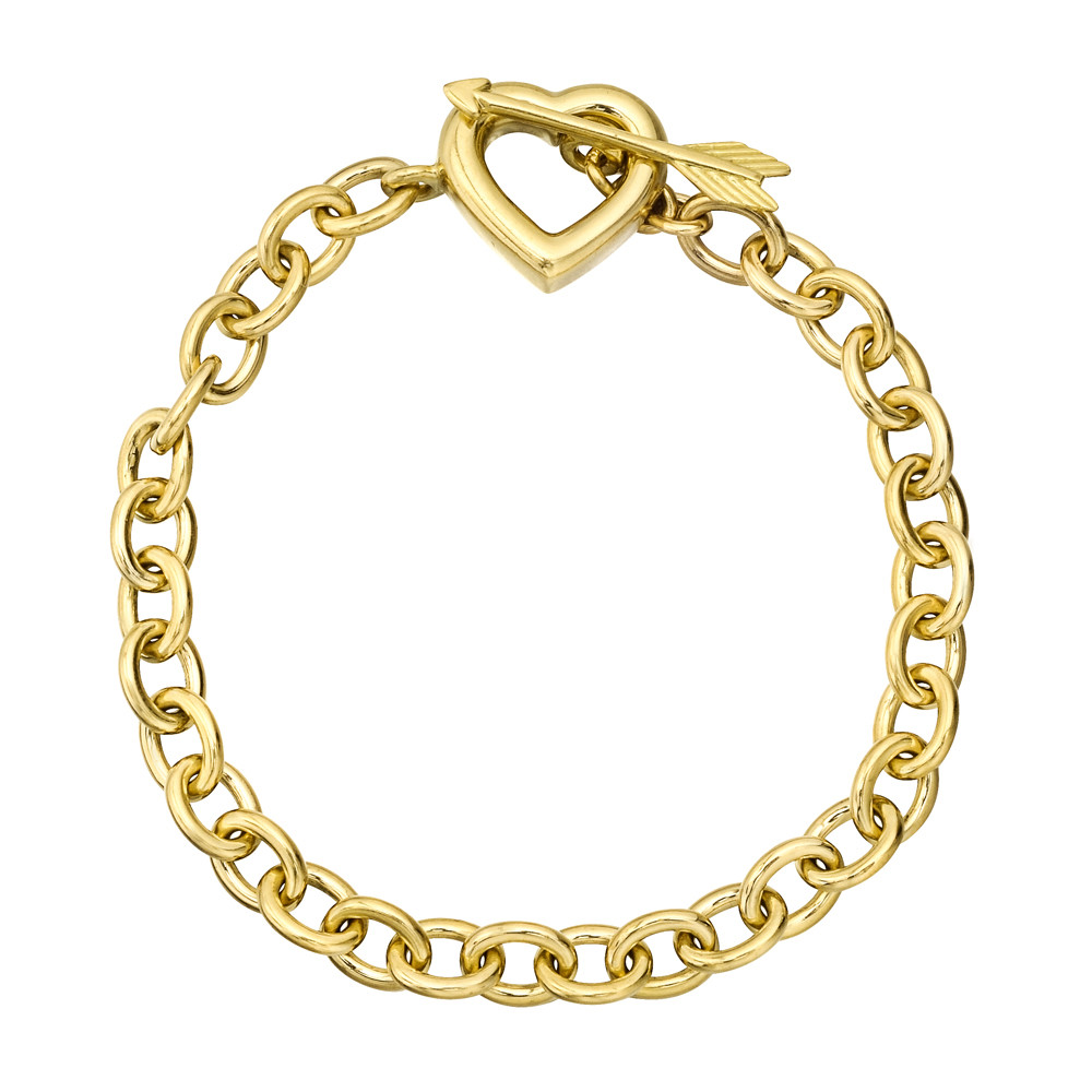 efda34236 Oval-shaped, cable link bracelet in polished 18k yellow gold, with a heart  and arrow toggle clasp, circa 1994, signed Tiffany & Co.