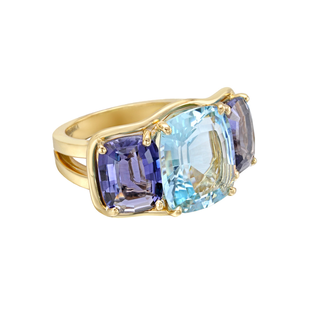 Aquamarine & Iolite Large Three-Stone Ring