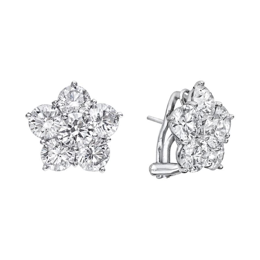 Extra Large Diamond Flower Cluster Earclips (8.46 ct tw)