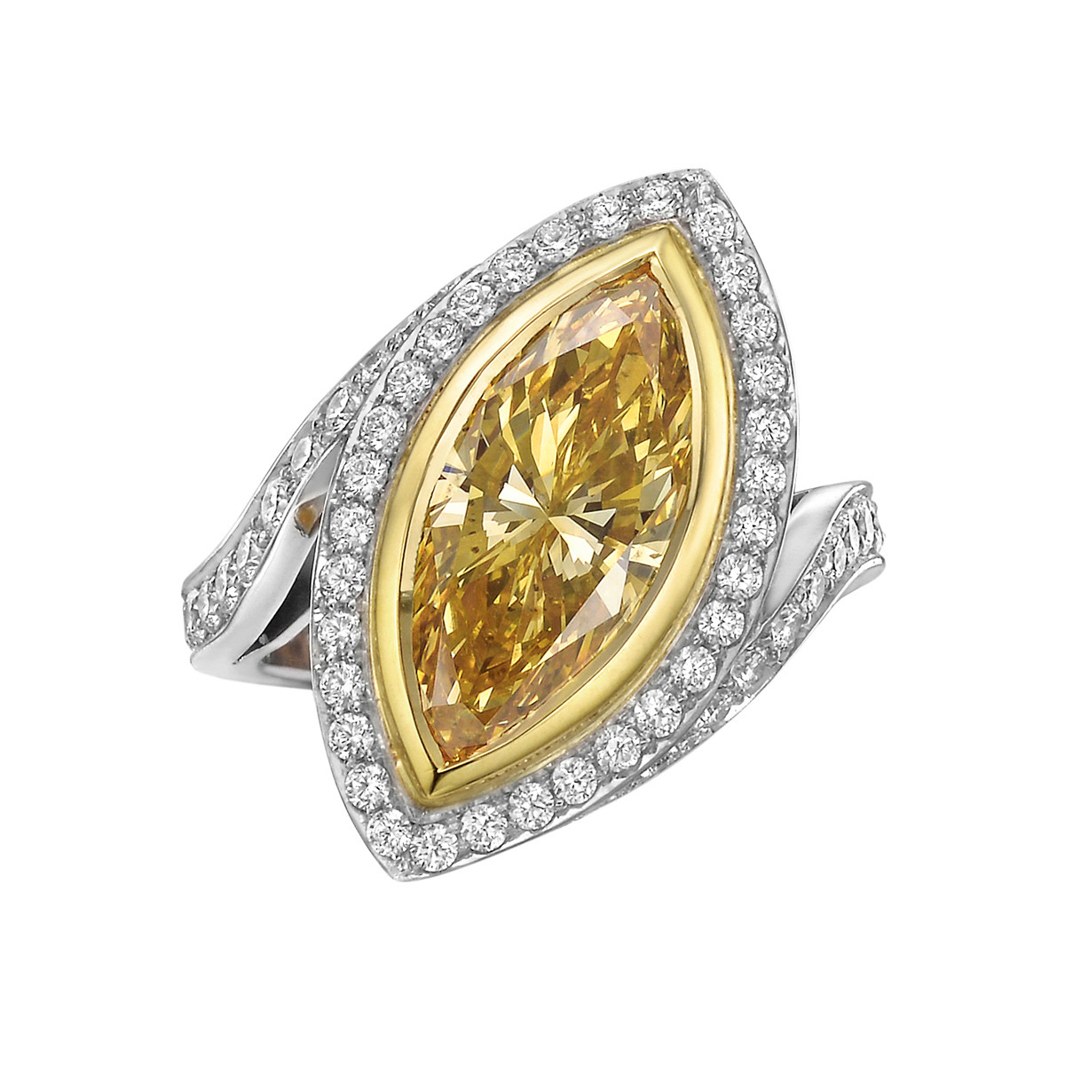 3.39 Carat Fancy Intense Orange-Yellow Diamond Ring