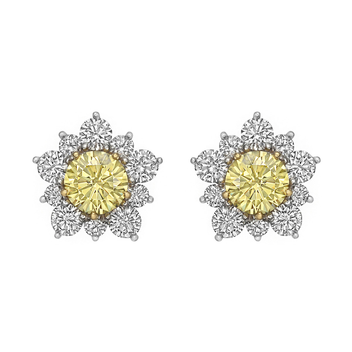 Fancy Intense Yellow & White Diamond Cluster Earrings