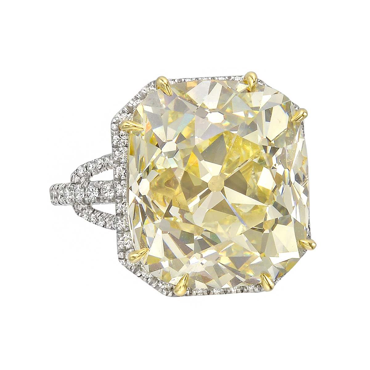 14.08ct Fancy Light Yellow Old Mine Diamond Ring