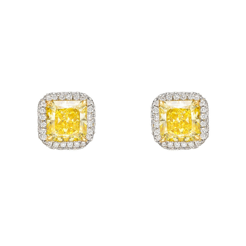 gold yellow senco earrings stud