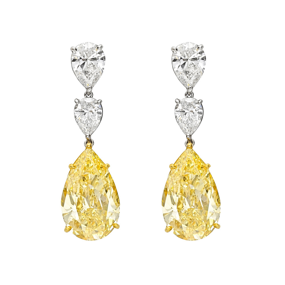 Fancy Yellow And Colorless Diamond Drop Earrings In Platinum 18k Gold Two Pear Shaped Diamonds Weighing 20 27 Total Carats