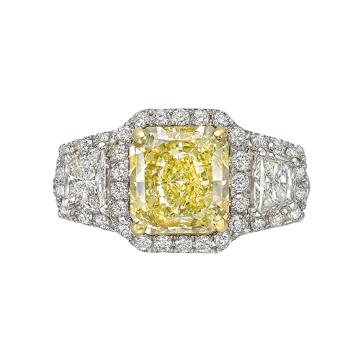 2.53ct Fancy Yellow Diamond Halo Ring