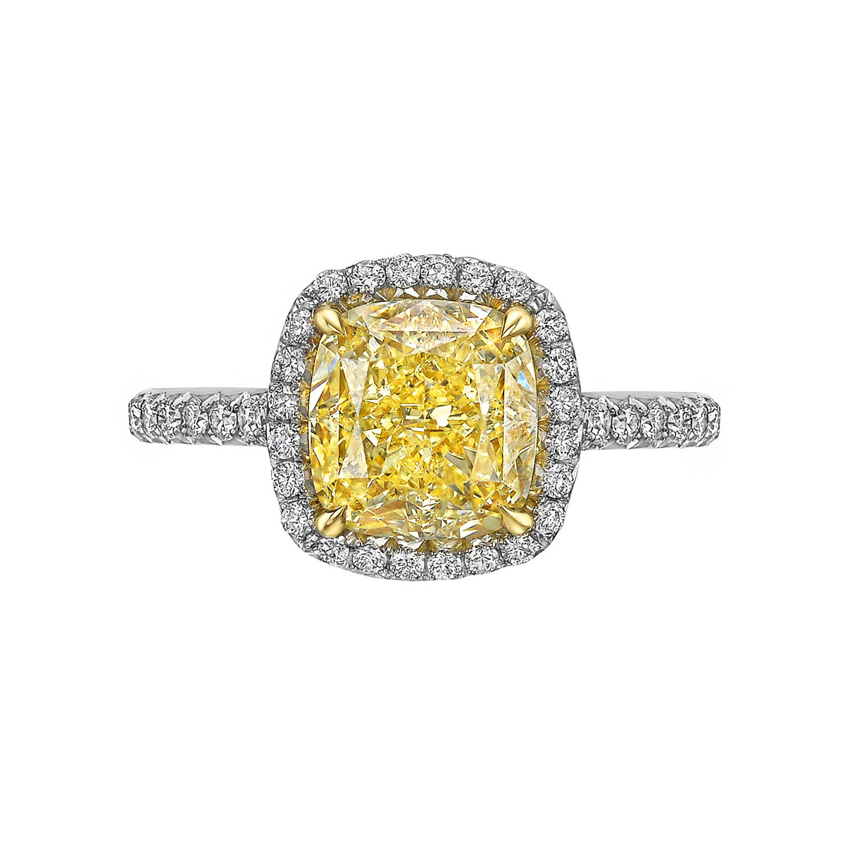 2.57ct Fancy Yellow Diamond Halo Ring (SI1)