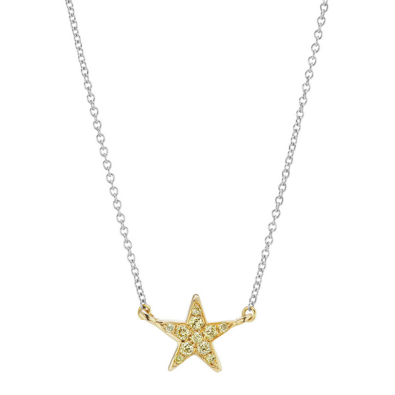 Fancy Yellow Diamond Star Pendant Necklace