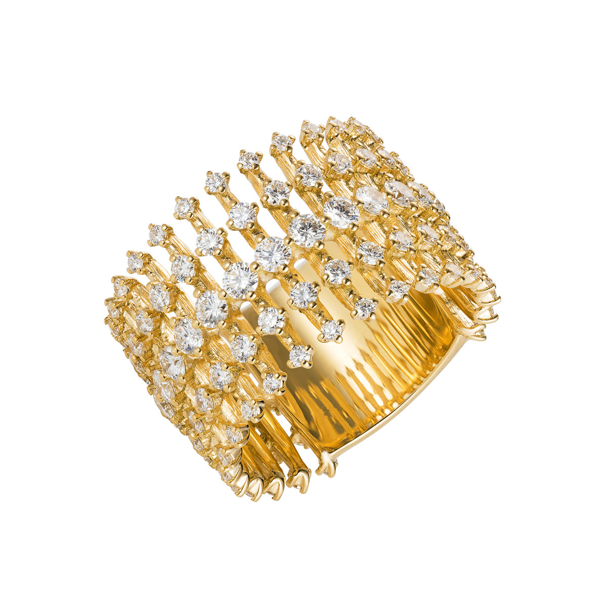 "18k Yellow Gold & Diamond ""Disco"" Band Ring"