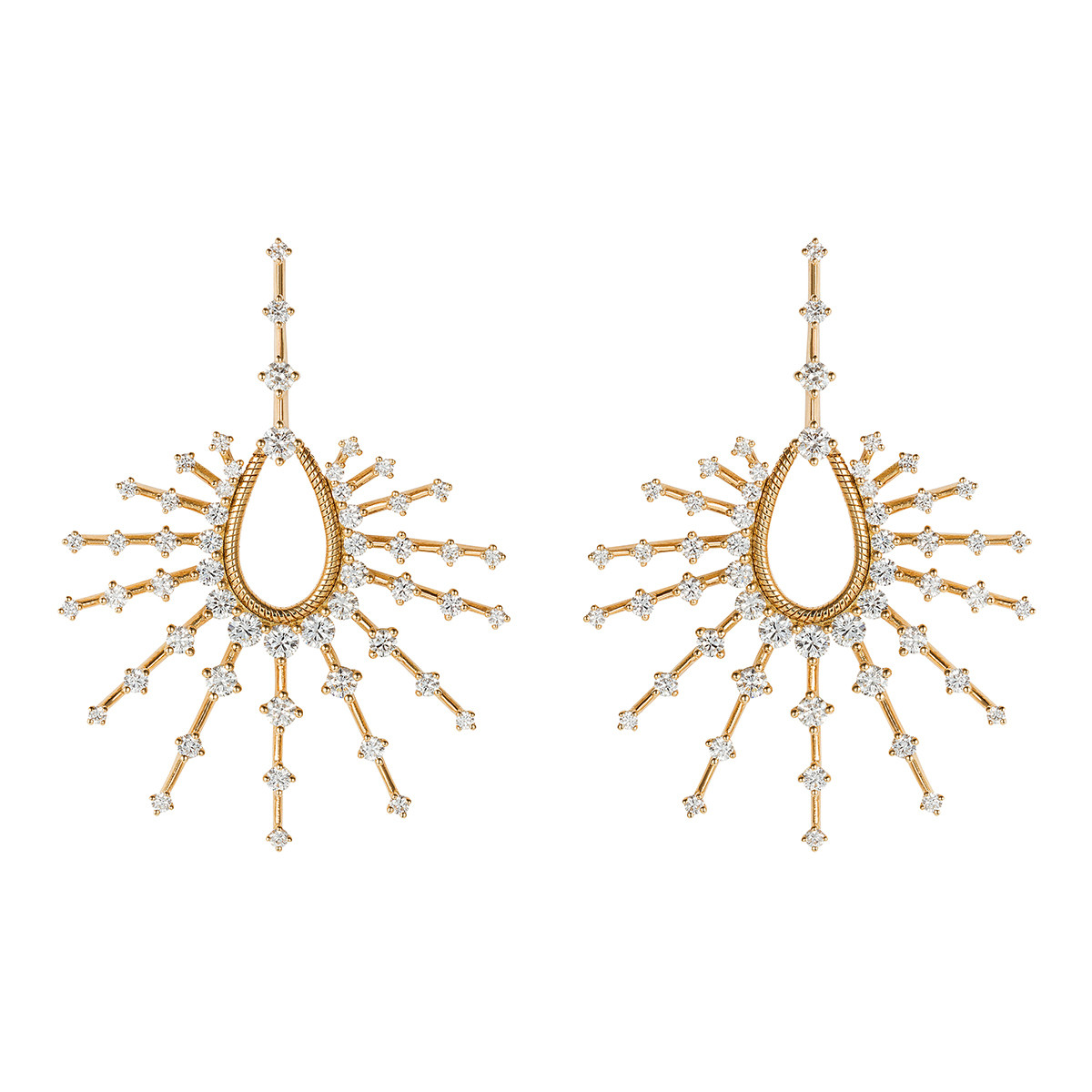 "18k Yellow Gold & Diamond ""Clarity"" Drop Earrings"