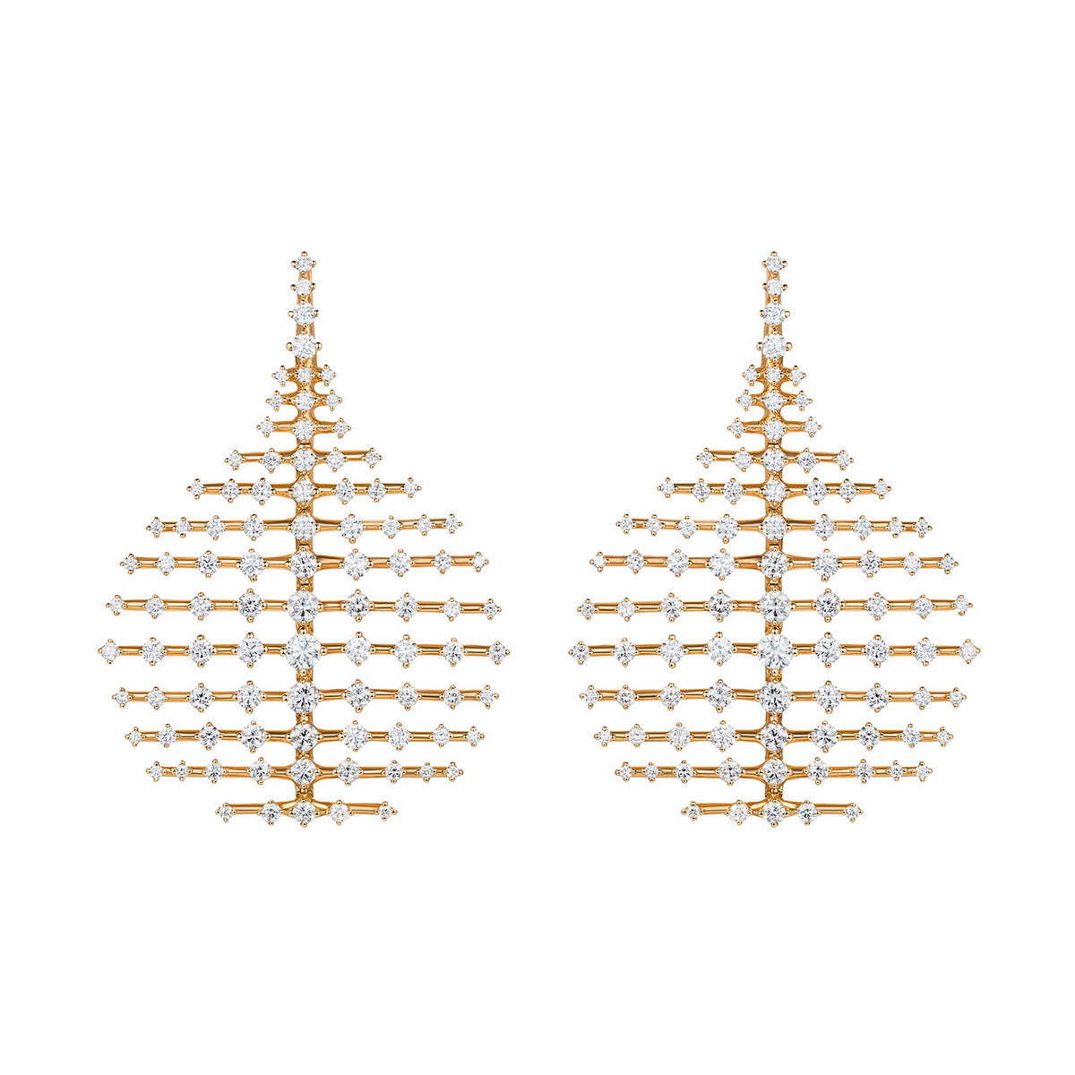 "Small 18k Yellow Gold & Diamond ""Disco"" Earrings"