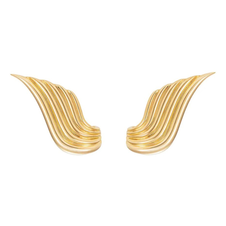 "18k Yellow Gold ""Fire"" Ear Climbers"
