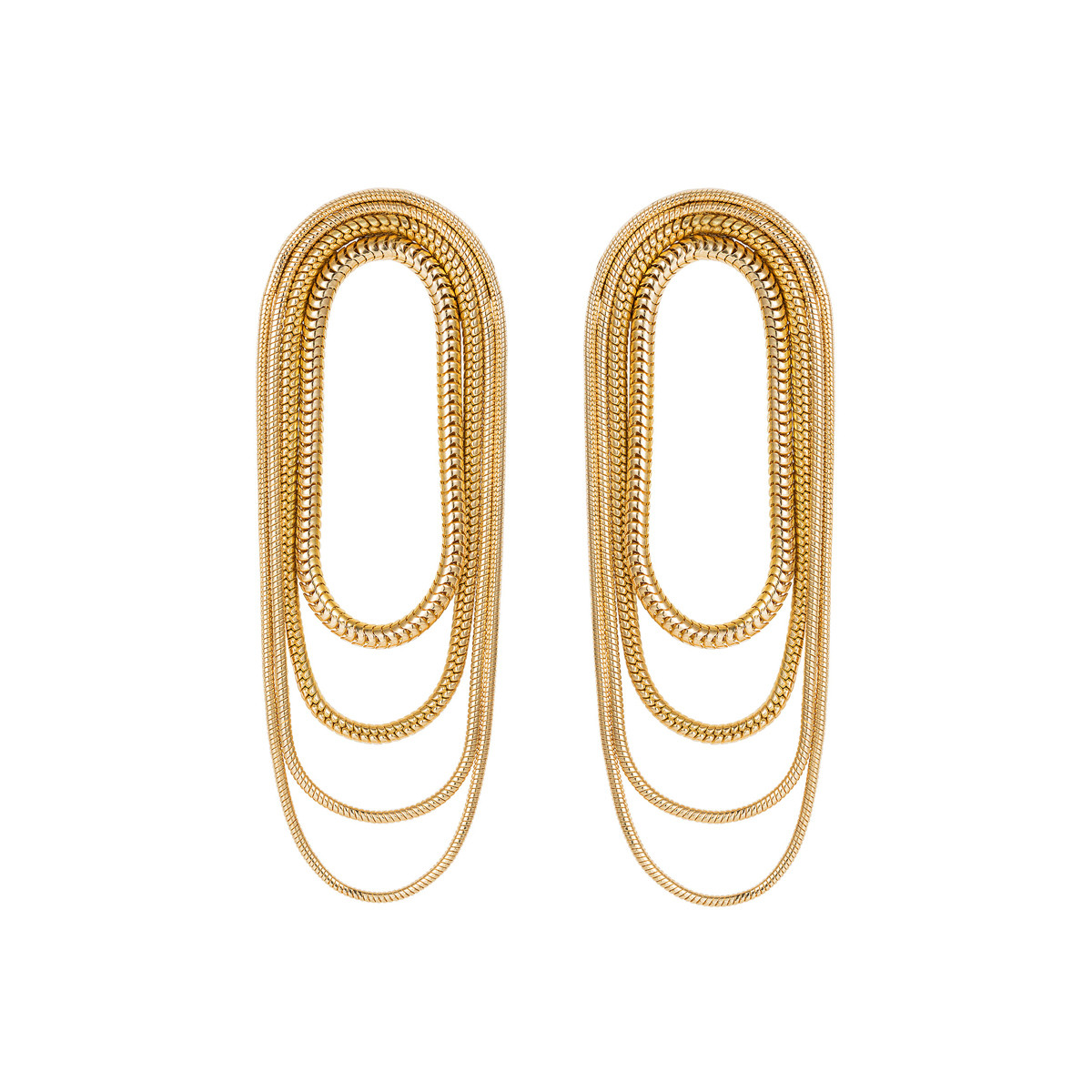 "18k Yellow Gold ""Parallel"" Multi-Chain Earrings"