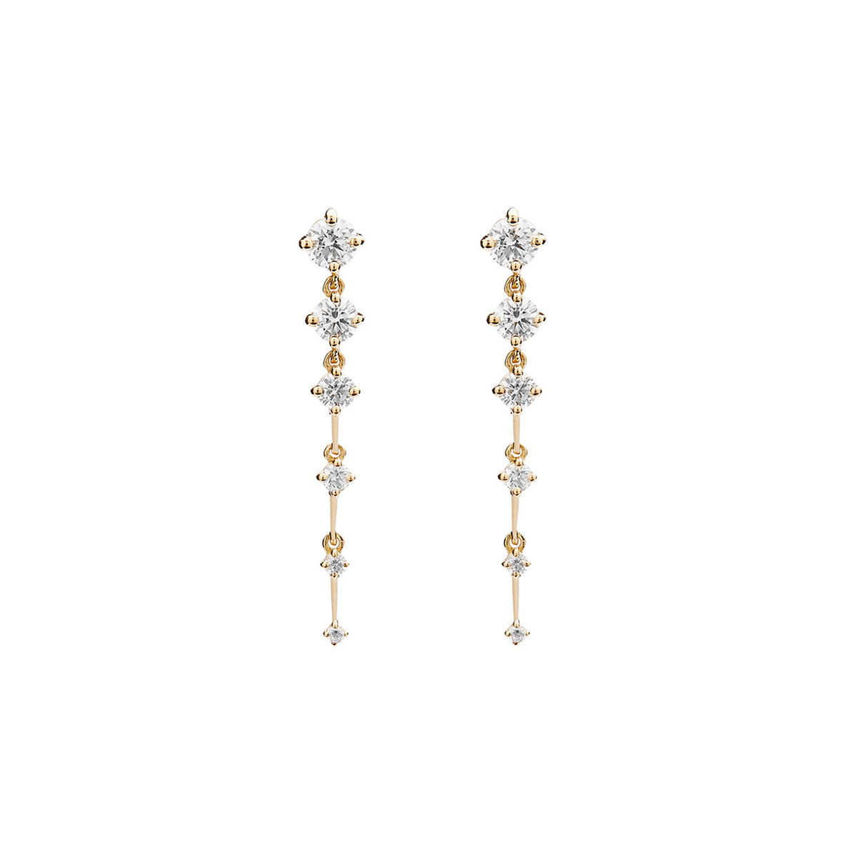"Short 18k Yellow Gold & Diamond ""Sequence"" Drop Earrings"