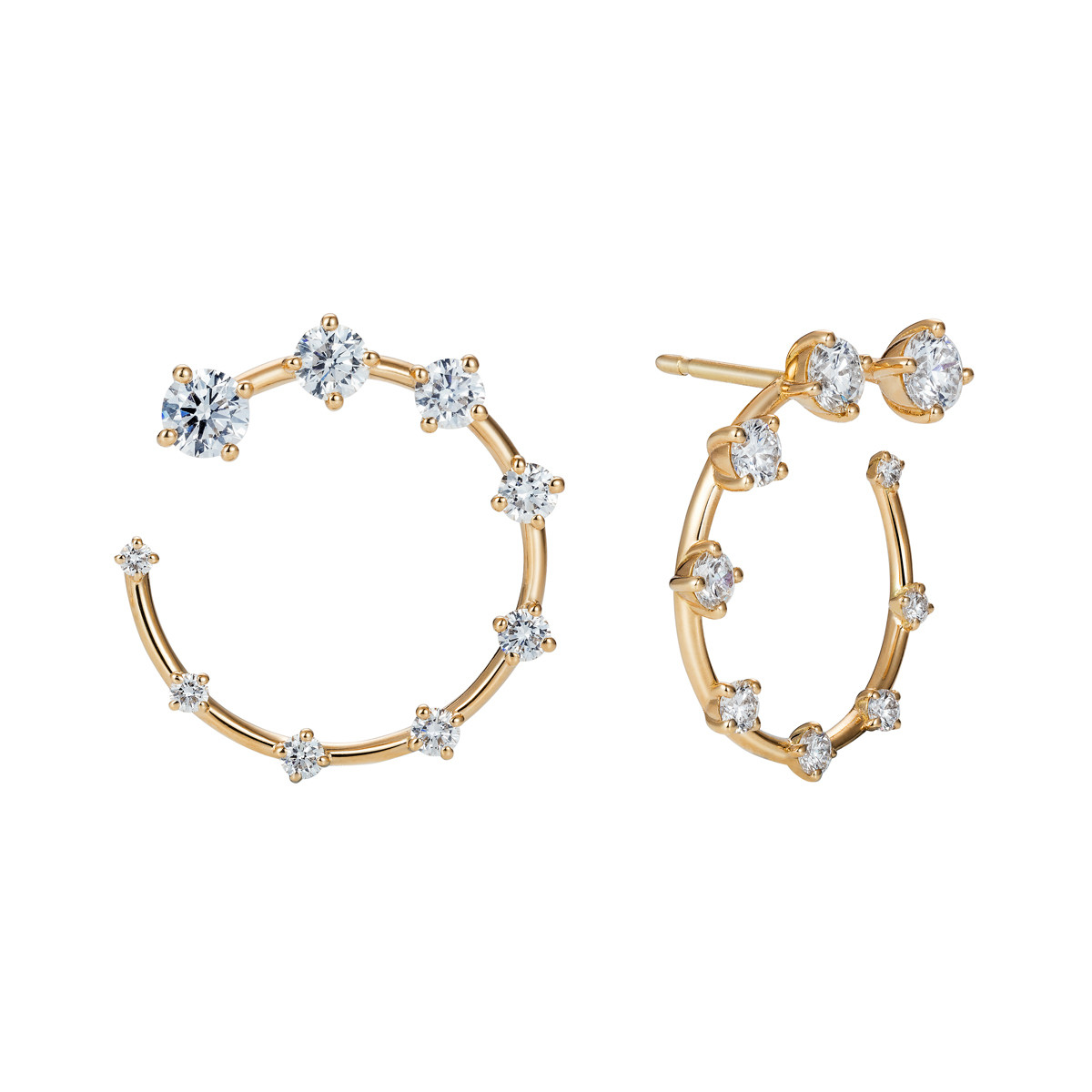 Small 18k Yellow Gold & Diamond Circle Earrings