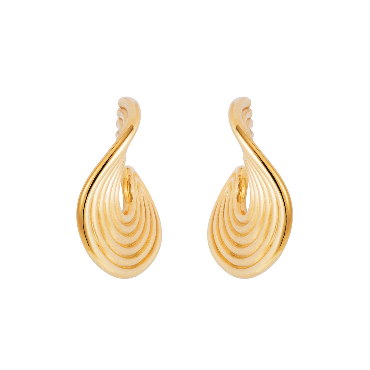 "18k Yellow Gold ""Stream Lines"" Hoop Earrings"